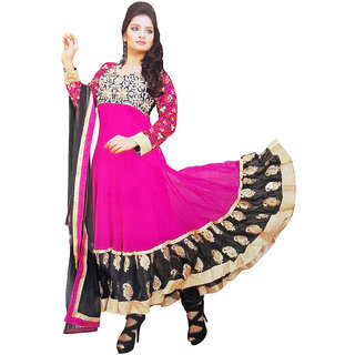Ladies Beautiful Cotton Semi-Stitched Suit Pink