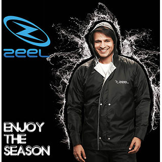 Zeel Gents Plain Black Rain Suit , Cote Jacket, pant for mens size-XL