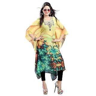 Dealji Digital Print Designer Bollywood Multi Colour kaftan kurti