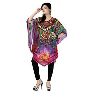 Dealji Digital Print Designer Bollywood Multi Colour kaftan kurti