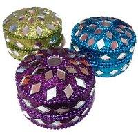 Satya Decorative Heavy Duty Multi-purpose Jewellery/sindoor Box-set Of 3