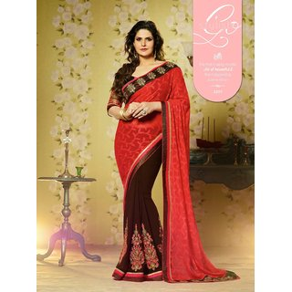 Bolly wood-zarinkhan exclusive brown & red saree
