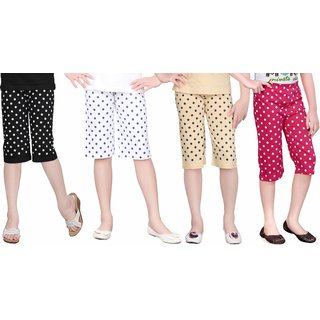 SINIMINI GIRLS CUTE CAPRI (PACK OF 4)SM1400_BLACK_RPINK_SM1900_RB_SM777_BEIGE