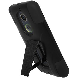 Amzer® Double Layer Hybrid Case with Kickstand - Black/ Black for Motorola Moto
