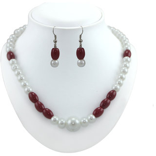 Elegant Daily Wear Pearl Necklace Set by Xcite with Maroon Crystal beads -XML112