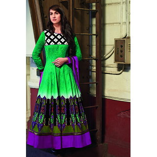 Designer Anarkali Cotton Semi Stitched Salwar kameez Suit