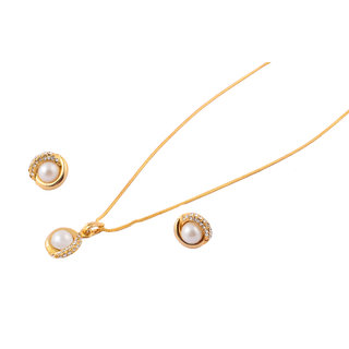 Touchstone Golden AD & Pearl Pendant Set