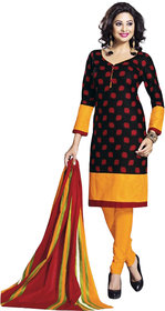 Drapes Yellow And Black Cotton Printed Salwar Suit Dress Material (Unstitched)