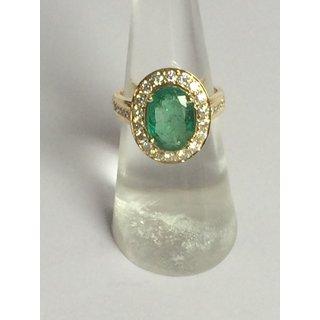 18k Gold Diamond Oval Emerald Ring RN-R-08