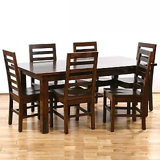 DINING TABLE WITH 6 CHAIR-BROWN