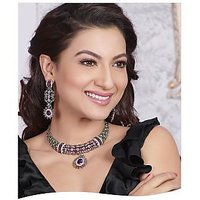 Kriaa Vivaah Exclusive Delightful Purple & Green Stone Necklace Set