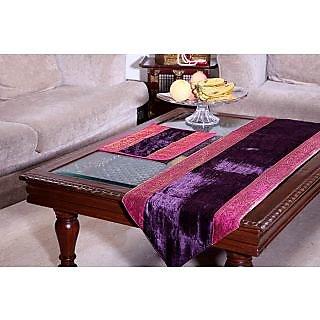 Designer Table Runner in Purple Velvet with Magenta Pink & Gold Brocade Borders