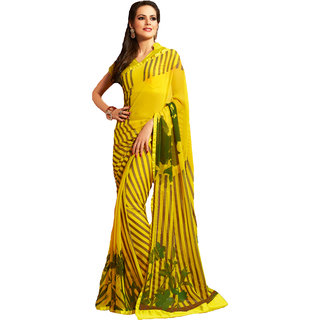 325dad09a Pagli Yellow Geometrical Printed Chiffon Georgette Saree available at  ShopClues for Rs.3200