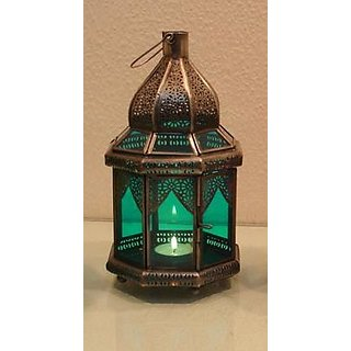 Candle Holder - Candle Stand - Hexagon Lantern - green - Metal Candle Holder