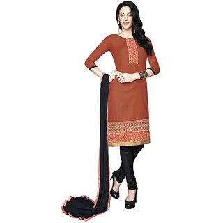 Women's Brown Cotton  Dress Material