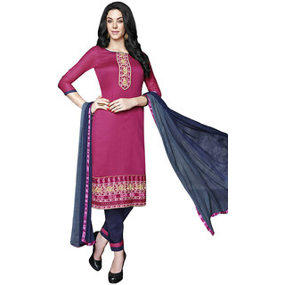 In Fashion Women's Pink Cotton  Dress Material