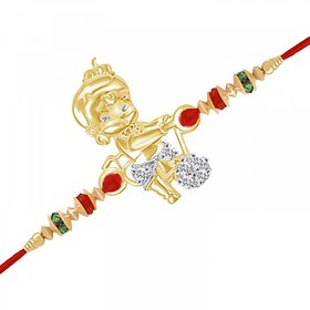 VK Jewels Bal Hanuman Gold and Rhodium Plated Rakhi - RAKHI1016G [VKRAKHI1016G]