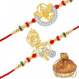 VK Jewels Ekdant & Bal Hanuman Rakhi Combo - RAKHI1020G [VKRAKHI1020G]