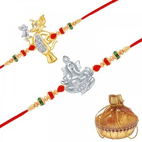 VK Jewels Ganesh and Tom & Jerry Rakhi Combo - RAKHI1023G [VKRAKHI1023G]
