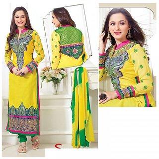 Sanjeeda Designer Cotton Yellow Green Dress Material (Unstitched)