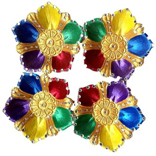 Unique Arts Designer Diyas Multicolour Petals with kundan work - set of 4 diyas