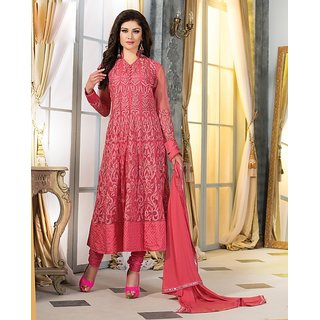 Sareemall Pink Embroidered Semi-Stiched Suit with Matching Dupatta 2HNY1004