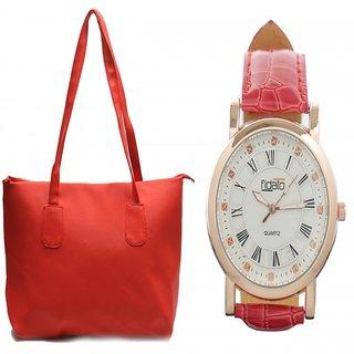 Fidato Red Handbag & Red Designer Watch