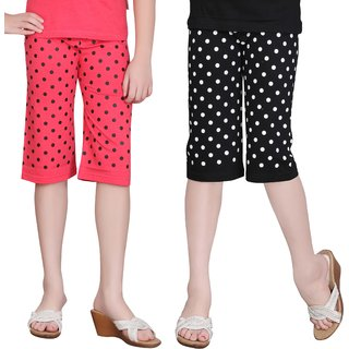 SINIMINI GIRLS COLORFUL CAPRI(PACK OF 2)SM777_TPINK_SM1400_BLACK