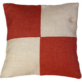 Kotton Rust Orange and Cream Jute Cushion Cover