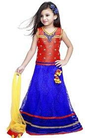 Violet Red&Blue Lahenga Choli_1023C