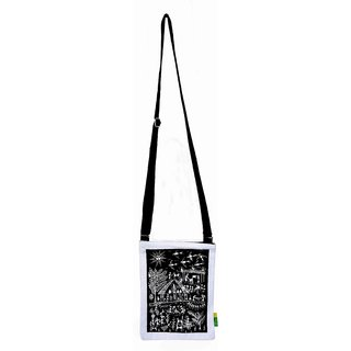 Small Warli Cotton  Black Sling Bag