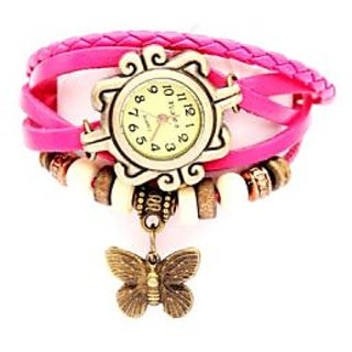Pappi Boss Pink Leather Bracelet Watch for Girls