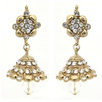 Kriaa Gold Plated White Austrian Stone Earrings