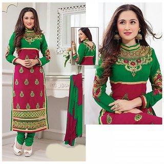 Sanjeeda Designer Cotton Red Green Dress Material (Unstitched)