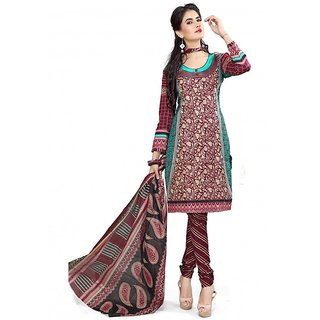 Florence Party Wear Maroon Cotton Printed Dress Material (SB-1235Maroon)
