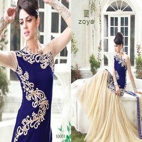 Zoya Blue-Beige Designer Ethnic Party Wear Salwar Suit Material (Unstitched)