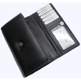 Artificial Black Pu Leather Ladies Wallets LW0506BL