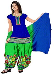 Aashvi Creation Blue and Light Green Cotton Unstitched Dress Material
