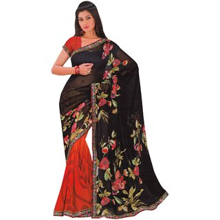 a70ab8031e3 Buy 1st Home Black Color weightless Printed Saree Online - Get 32% Off