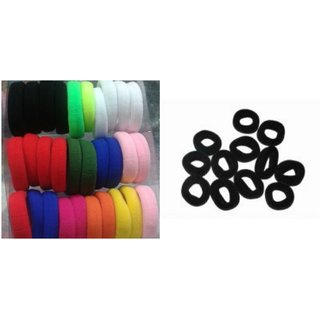 Combo 24pcs colorful Hair Band  12 Black Hair rubber bands