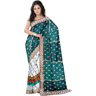 Triveni White Georgette Embroidered Saree With Blouse