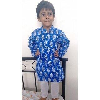 Bijou Boys Sanganeri Printed Bright Blue Kurta Pajama