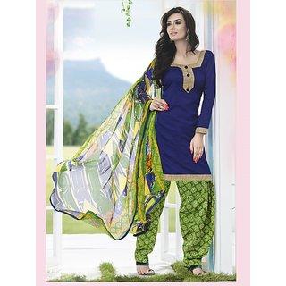 Sareemall Black Dupion Silk Lace Salwar Suit Dress Material