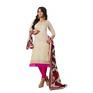 Florence Cream Laher Chanderi Cotton Embroidered Suit (SB-2501) (Unstitched)