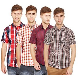 Factorydirect Mens Multicolor Regular Fit Casual Shirt (Set Of 4)