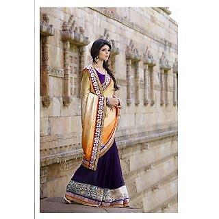 Khushali PResents Multi Embroidered And Embellished Georgette Skirt And Jacquard Pallu Half & Half Saree(Dark Purple,Multi)