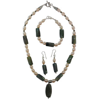Pearlz Ocean Freshwater Pearl  Jasper Pyrite Beads 3-Pieces Necklace Set