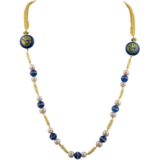Pearlz Ocean White Freshwater Pearl And Blue Jade 18 Inch Necklace For Women