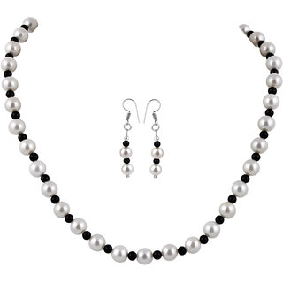 Pearlz Ocean Shell Pearl And Black Onyx Necklace Set