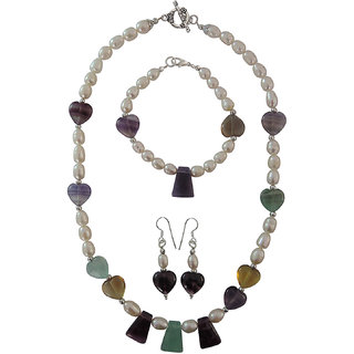 Pearlz Ocean Freshwater Pearl Multi Fluorite Beads 3-Pieces Necklace Set